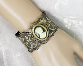 Neo Victorian Hammered Tin and Brass Gothic Vintage Cameo Cuff Bracelet - Victorian Jewelry, Upcycled Jewelry