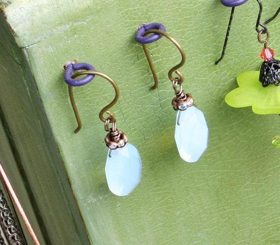 Faceted Blue Opalite Teardrop Victorian Earrings