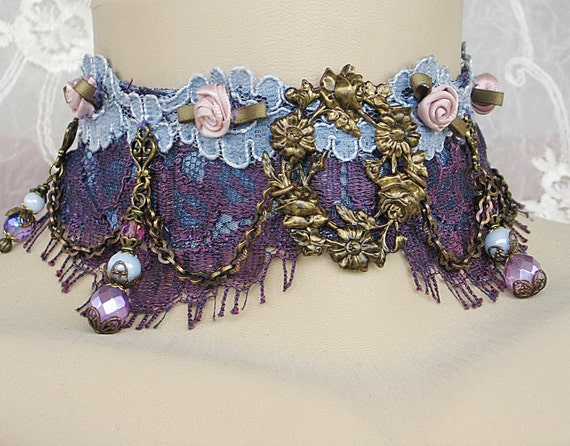 Victorian Choker - Purple and Pale Blue Vintage Lace Brass Art Deco Choker, Victorian Jewelry, Upcycled Jewelry