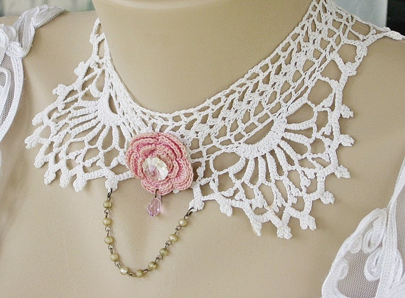 Upcycled Jewelry, Vintage Lace Collar - Vintage White Crochet Lace Choker, Victorian Jewelry