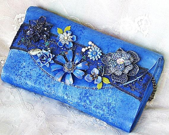 Cobalt Blue Evening Bag, Blue Bridesmaid's Purse, Flower Assemblage Embellished Handbag, Upcycled Vintage Statement Handbag