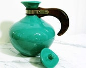 Retro Metlox Vintage Turquoise Pottery Coffee Carafe, with Wooden Handle and Removable Lid from Mateacovintretro
