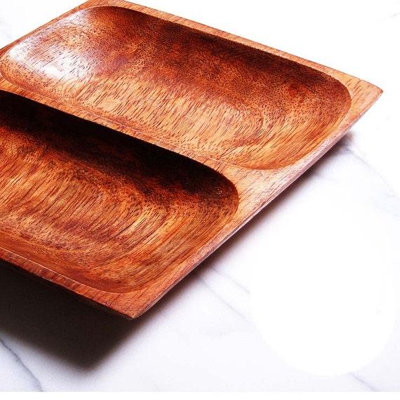 Vintage Retro Diamond Shaped Teak Wood Divided Dish Classic Serving Home Decor Piece