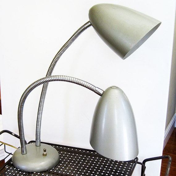 two headed desk lamp mid century modern retro silver metal With 2 headed table lamp