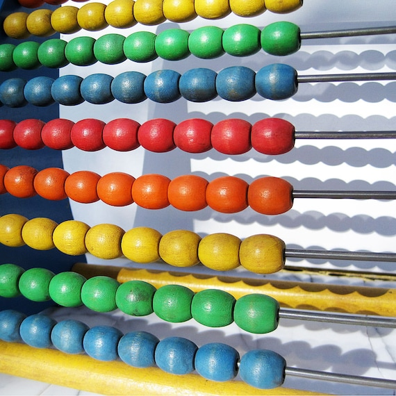 Vintage Toy Abacus, Wooden, Colorful, By Playskool from Mateacovintretro