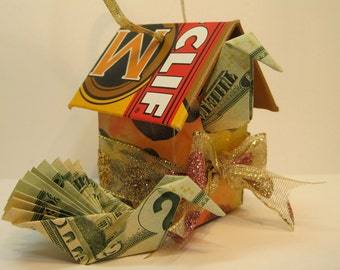 Christmas tree decorations, double as cash carrying Mini Birdhouse Ornaments constructed from reclaimed cardboard