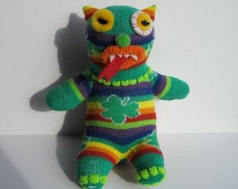 SHAMBOW, vegan vampire repurposed sock toy with Shamrocks and Rainbows