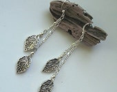 reserved - Foliage - silver leaf dangle earrings