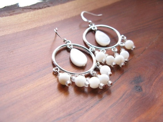 Seychelles - white shell and silver chandelier earrings