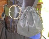 Drawstring Leather Pirate / Biker Belt Booty Bag