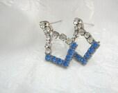 Blue Rhinestone and Clear Post Earrings Vintage