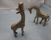 Vintage Set of Small Brass Giraffes