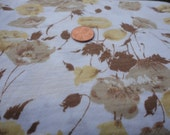 "Brown and Yellow Cotton Stretch Floral Fabric 64"" One Yard"