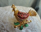 Partridge Brooch Gold Tone Metal and Enamel Red signed Corel