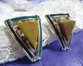 Big and Bold Geometric Enamel and Stone Silvertone Clip on Vintage Earrings