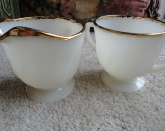 Vintage Fire King MilkGlass With Gold Cream and Sugar