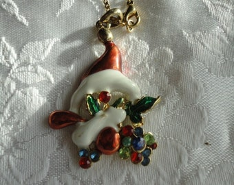 Vintage Santa Hat Pendant with Holly Leaves and Rhinestones