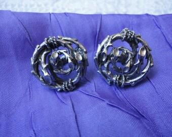 Silver  Metal Twig Style Vintage Clip on Earrings