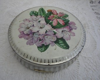 Pretty Vintage Tin with Lillies and Stripes