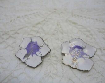 Purple and White Flower Vintage Metal and Enamel Clip on Earrings