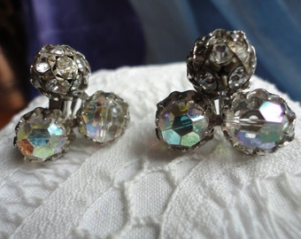 Beautiful Sparkly Vintage Faceted Crystal Clip on Earrings