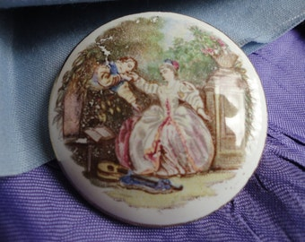 Pretty Round Vintage Porcelain Brooch with a Victorian Scene