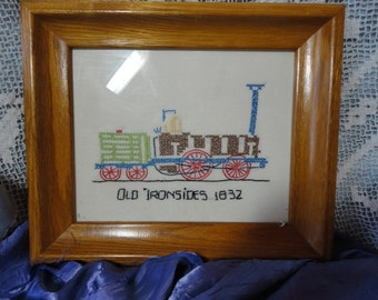 Framed Embroidered Picture of Old Ironsides Train Vintage Home Decor