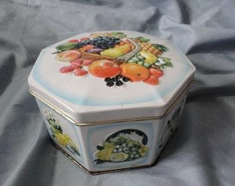 Small Octagon Tin Fruit Tin from England Vintage