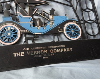 Plastic Cut Out Style Advertising Wall Plaque The Vernon Company Blue and Black