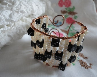 Wire Wrapped Copper Cuff Bracelet with Black and White Dice Adjustable