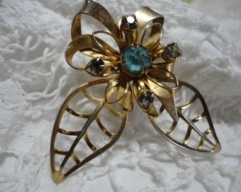 Gold Tone Open Work Metal and Rhinestone Floral Vintage Brooch Blue
