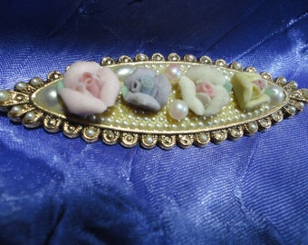 Sweet Gold tone Brooch with China Flowers and Faux Pearl Vintage Jewelry