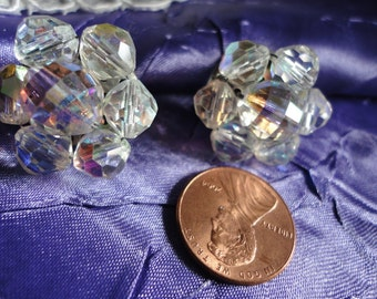 Clear Glass Crystal Faceted Beaded Cluster Clip on Vintage Earrings
