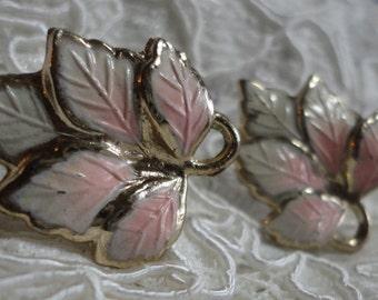 Enameled Metal Leaf Design Vintage Screw Back Earrings Pastel Pink and White