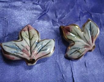 Ceramic Glazed Vintage Leaf Shaped Earrings in Pastel Colors