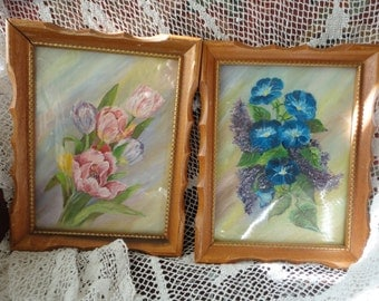 Pair of Hand Painted Framed Acrylic Floral Paintings Vintage Home Decor