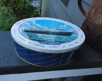 Holland America Oval Vintage Tin Container