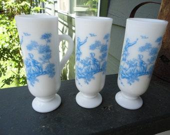 Blue and White Milkglass Avon Demitasse Cups Set of Three