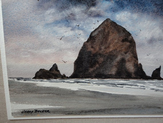 Jerry Becker Original Watercolor Painting, Canon Beach Oregon