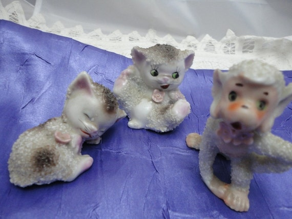 Two Kittens and a Monkey Figurines from Japan