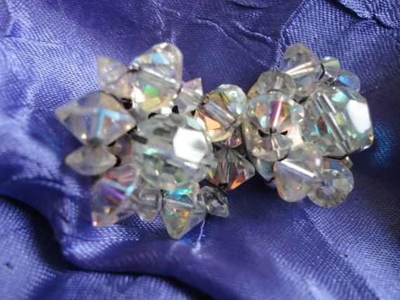 Clear Crystal Cluster Clip on Earrings Vintage Jewelry