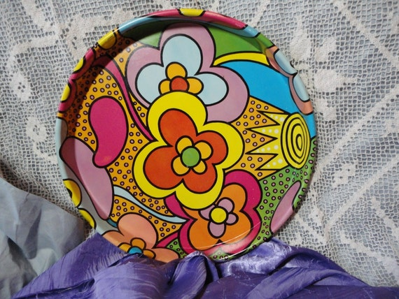 Flower Power Wonderful Bright and Colorful Round Tin Tray Vintage