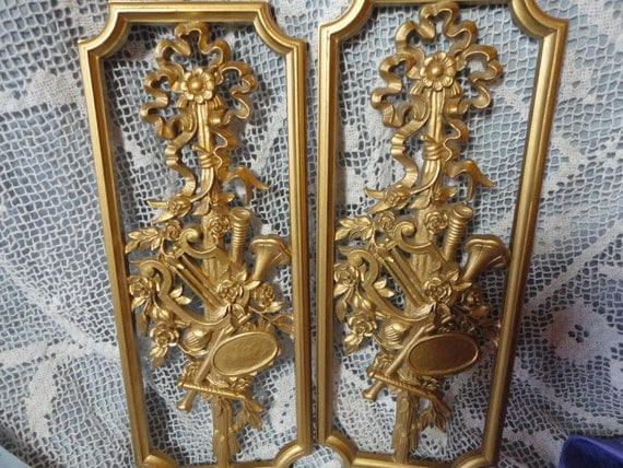 Syroco Gold Plastic Ornate Wall Hangings Vintage Home Decor