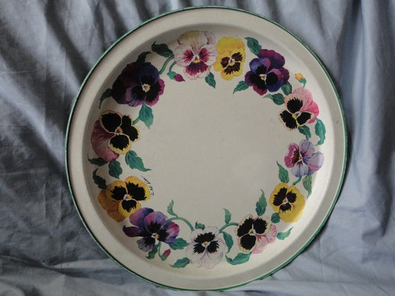 Large Round Tin Tray with Pansies from Potpourri Press 1991