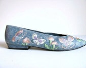 Faux Denim Embroidered Flats Size 7.5 S