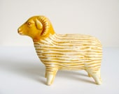 Golden Ceramic Ram Vase