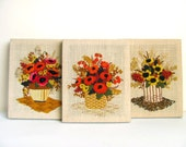 CLEARANCE Set of Three Flower Bouquet Embroideries