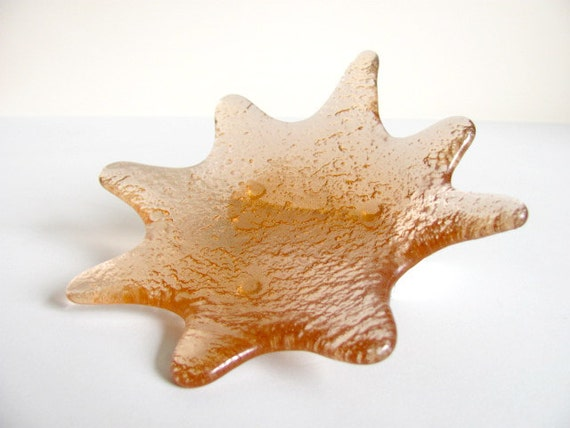 Vintage Blenko Peach Starfish Art Glass Dish