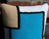 Crochet Throw Pillow Turquoise/White/Lime/Tan, Decorative Pillow, 16 x 16