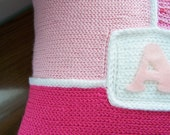 Personalized Crochet Throw Pillow Pink/White, Decorative Pillow, Baby Gift, 14 x 14